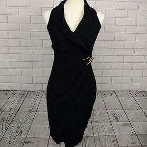 Cache XS Black Dress Gold Hardware Sleeveless